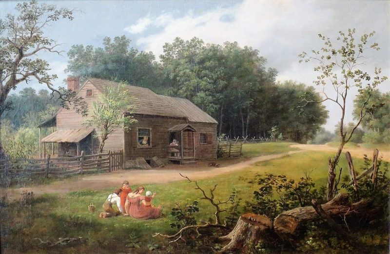 Cabin with Children Playing | Thomas Birch | Oil Painting