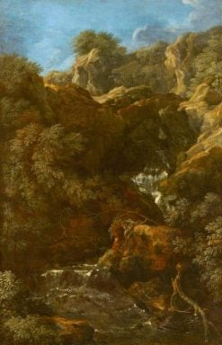 A Waterfall amongst Rocks (Tivoli?) | Gaspard Dughet | Oil Painting