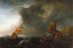 Two Ships in Distress | Willem van de Velde the Younger | Oil Painting