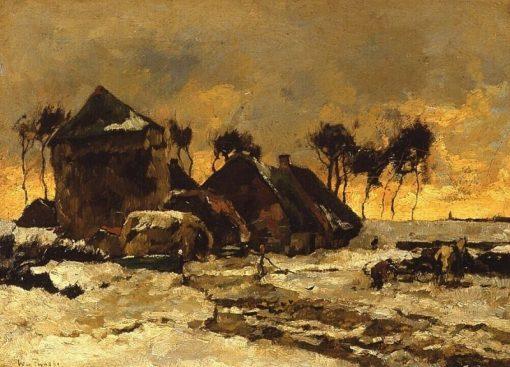 Snow at Sunset   Willem de Zwart   Oil Painting
