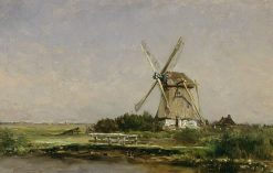 Mill at a Lake near Abcoude | Willem Roelofs | Oil Painting