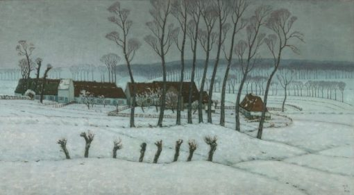 Neige a Berchem-Sainte-Agathe (Snow at Berchem-Sainte-Agathe) | William Degouve de Nuncques | Oil Painting