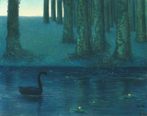 The Black Swan | William Degouve de Nuncques | Oil Painting