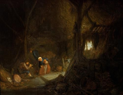 Two Peasants in a Dwelling | Adriaen van Ostade | Oil Painting