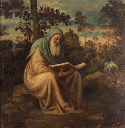 Hermit Reading | Andrea Schiavone | Oil Painting