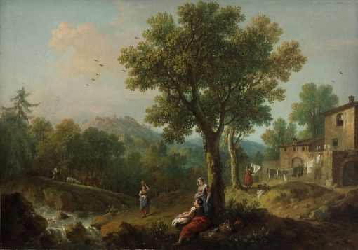 Landscape with Washerwomen   Francesco Zuccarelli   Oil Painting