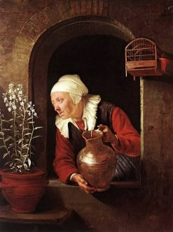 Old Woman with Jug at a Window | Gerrit Dou | Oil Painting