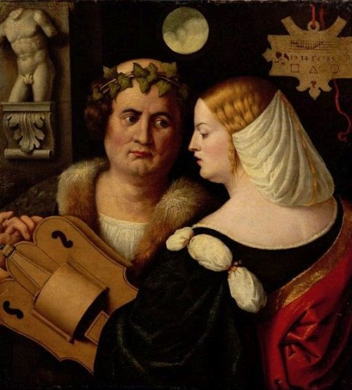 Poet Playing a Hurdy-Gurdy with a Young Woman | Giovanni Cariani | Oil Painting