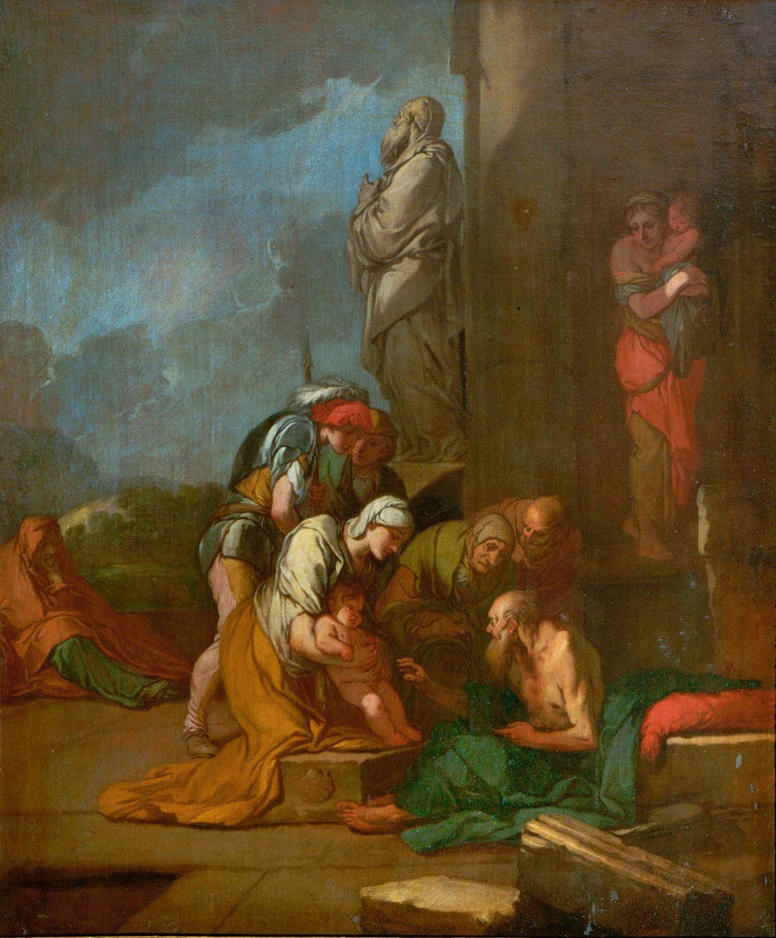 Nymph Liriope Brings Her Son Narcissus to Tiresias | Giulio Carpioni | Oil Painting