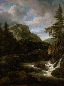 Mountainous Landscape with Waterfall | Jacob van Ruisdael | Oil Painting
