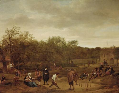 The Bowling Game   Jan Havicksz. Steen   Oil Painting