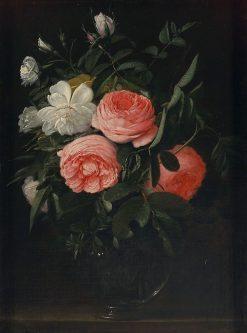 Roses in a Glass Vase | Johannes van der Baren | Oil Painting