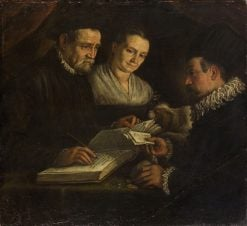 The changer Orazio Lago with His Wife and a Client   Leandro Bassano   Oil Painting