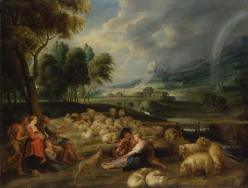 Landscape with Sheep   Lucas van Uden   Oil Painting