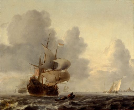 Warships and Smaller Ships in a Breeze | Ludolf Backhuysen | Oil Painting