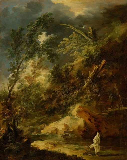 Landscape with a Monk in a Storm   Marco Ricci   Oil Painting