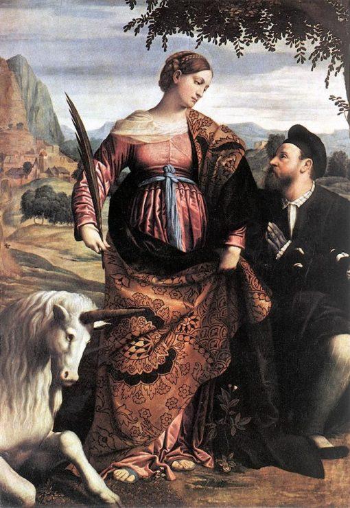Saint Justina with the Unicorn   Moretto da Brescia   Oil Painting