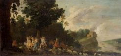 Landscape with Figures Dancing   Moses van Uyttenbroeck   Oil Painting