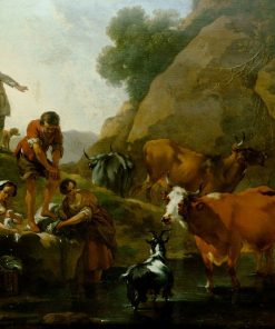 Herd of Cattle with Women Washing | Nicolaes Berchem | Oil Painting