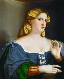 Young Woman in a Blue Gown with a Feather | Palma il Vecchio | Oil Painting