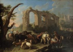 Italian Landscape with Cattle and Goats | Pieter van Bloemen | Oil Painting