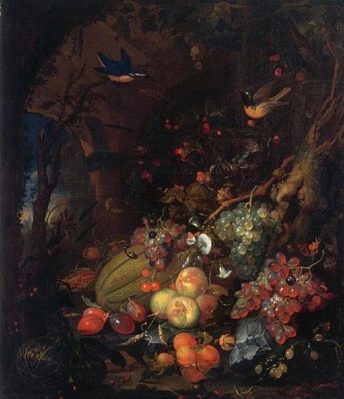 Still Life with Fruit and Animals in a Grotto | Abraham Mignon | Oil Painting