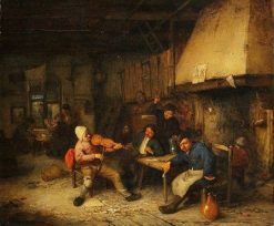 Violin Player and Drinking Farmers in a Tavern | Adriaen van Ostade | Oil Painting