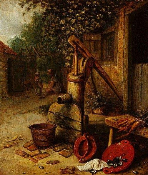 Courtyard of a Farm with Pump Well | Adriaen van Ostade | Oil Painting