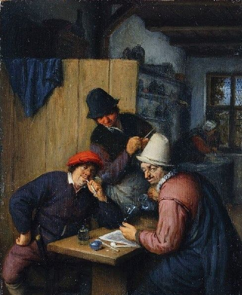 Three Drinking and Smoking Farmers in a Tavern   Adriaen van Ostade   Oil Painting