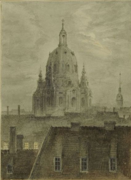 Frauenkirche in Dresden   Carl Gustav Carus   Oil Painting