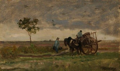 Landscape with Cart and Horse   Charles Francois Daubigny   Oil Painting