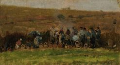 Farmers Harvesting Potatoes | Charles Francois Daubigny | Oil Painting