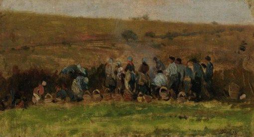 Farmers Harvesting Potatoes   Charles Francois Daubigny   Oil Painting