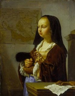 Young Lady prepares to go out carrying Feathers | Frans van Mieris the Elder | Oil Painting