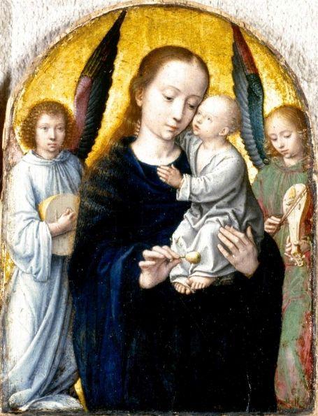 Virgin with Child in between Musical Angels   Gheeraert Gerard David   Oil Painting