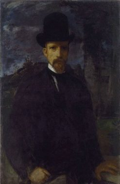 Self-Portrait with High Hat | Hans von MarEes | Oil Painting