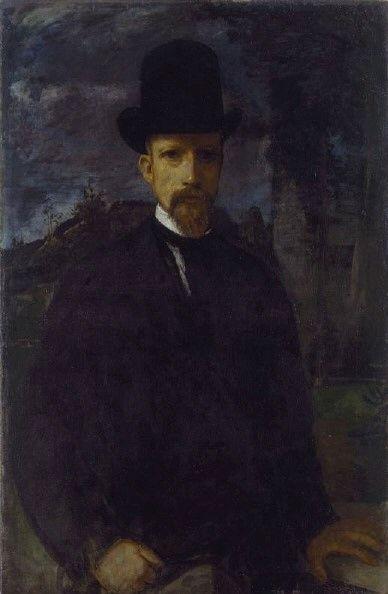 Self-Portrait with High Hat | Hans von MarEes | Oil Painting