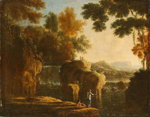 Waterfall with Fishermen | Herman van Swanevelt | Oil Painting