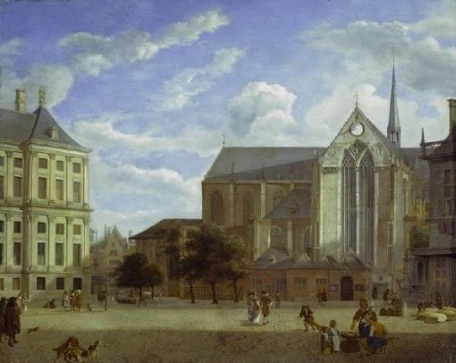 The Dam in Amsterdam towards the Townhall and Nieuwe Kerk | Jan van der Heyden | Oil Painting