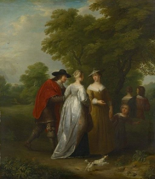 The Promenade   Jan van Mieris   Oil Painting