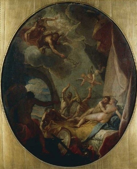 Mars and Venus Surprised by the Gods   Niccolò Bambini   Oil Painting