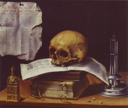 Vanitas Still Life with Skull   SEbastien Stoskopff   Oil Painting
