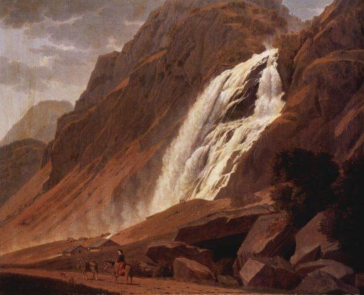 The Pissevachefall   Johannes Jakob Biedermann   Oil Painting