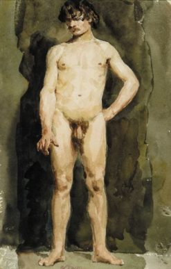 Male Nude | Albert Anker | Oil Painting
