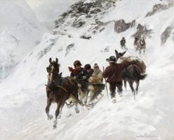 The Gotthardpost in Winter | Hans Bachmann | Oil Painting