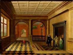 An Interior with King Charles I and Queen Henrietta Maria and Others | Hendrick van Steenwijck the Younger | Oil Painting