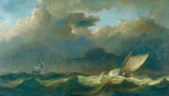 Fishing Boat and Man O'War in a Strong Breeze | Willem van de Velde the Younger | Oil Painting