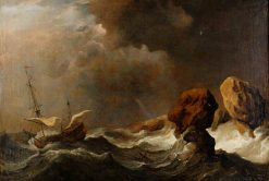 Ship in Distress off Rock | Willem van de Velde the Younger | Oil Painting