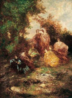 Woodland Scene with Figures | Adolphe Joseph Thomas Monticelli | Oil Painting