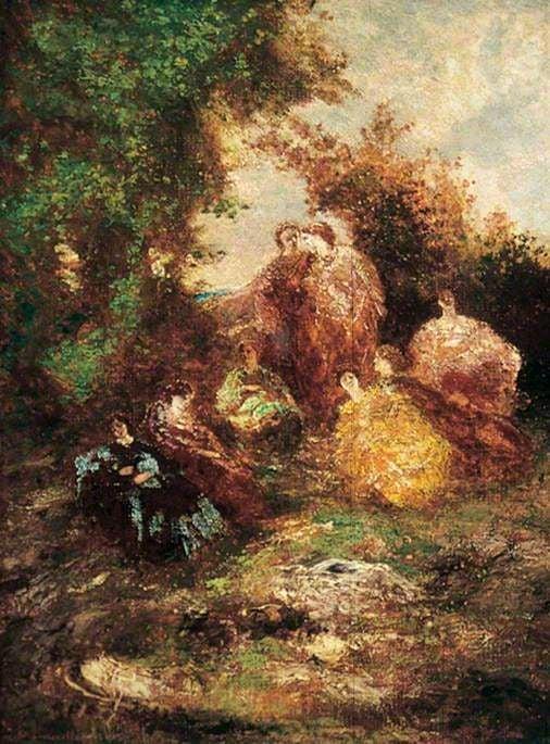 Woodland Scene with Figures | Adolphe Joseph Thomas Monticelli | Oil Painting